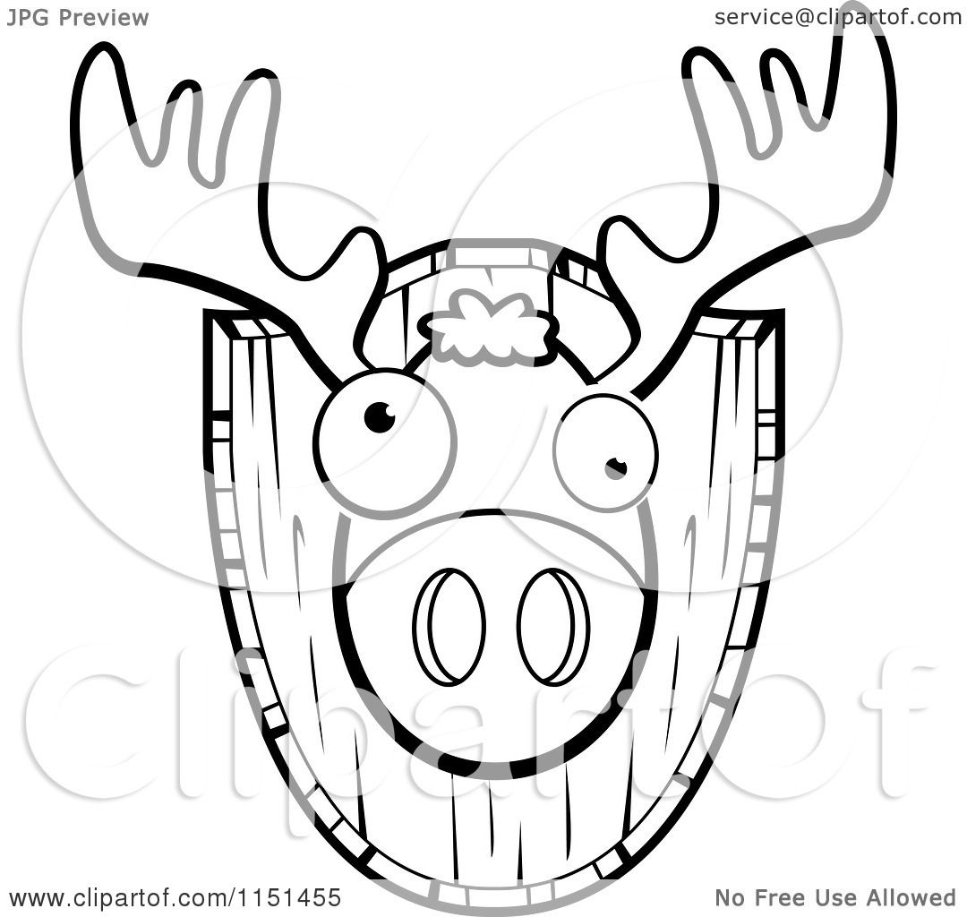 Cartoon Clipart Of A Black And White Mounted Trophy Deer Head ...