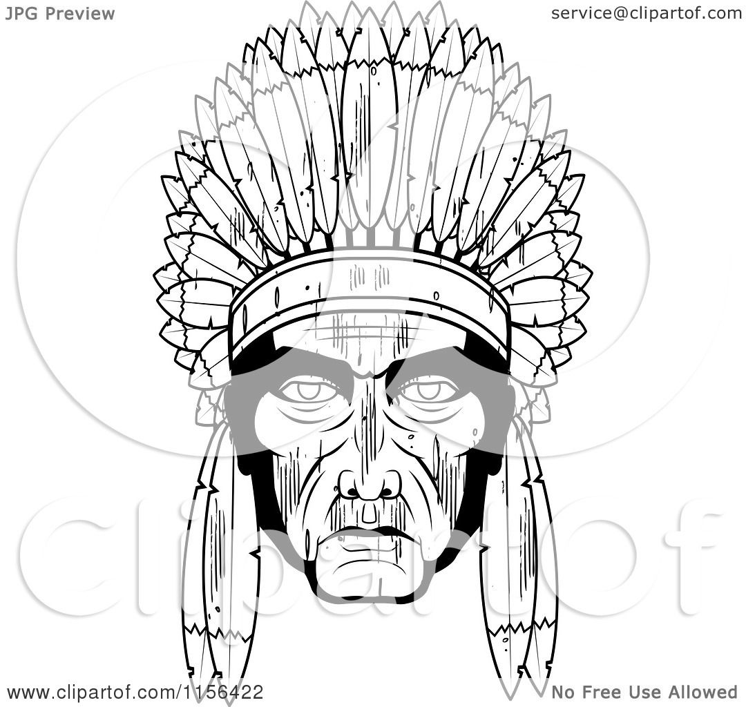 cartoon clipart of a black and white native american chief