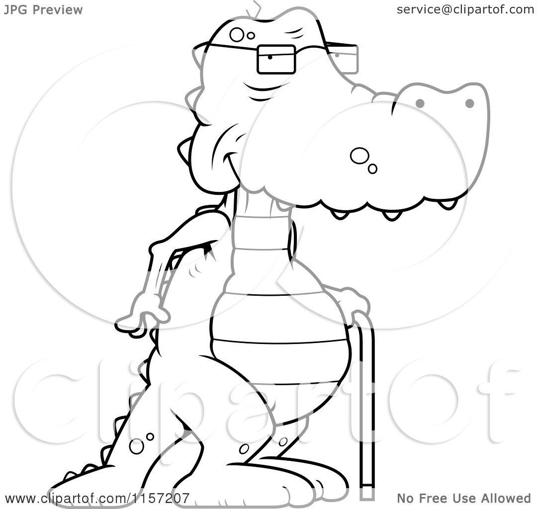 cartoon clipart of a black and white old alligator using a cane