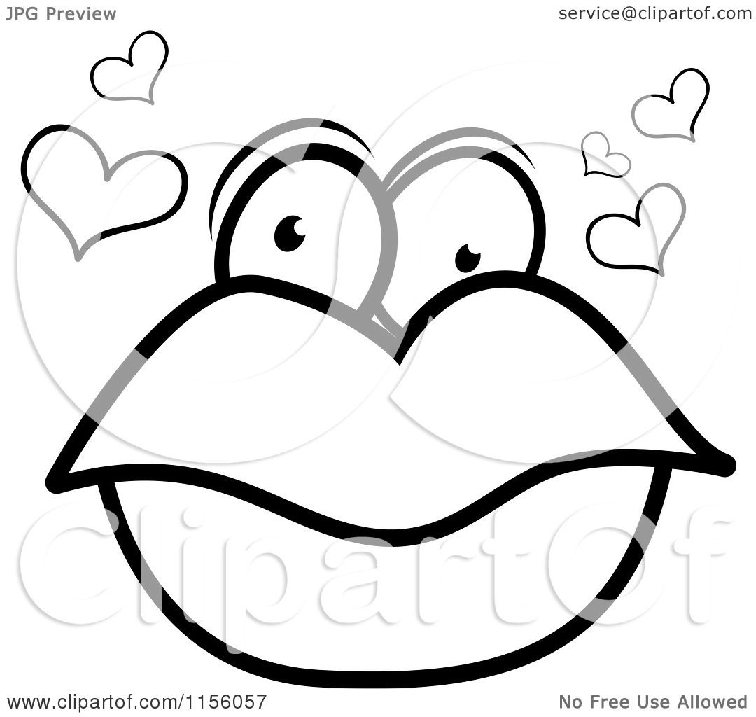 Cartoon Clipart Of A Black And White Pair Lips With Eyes Hearts