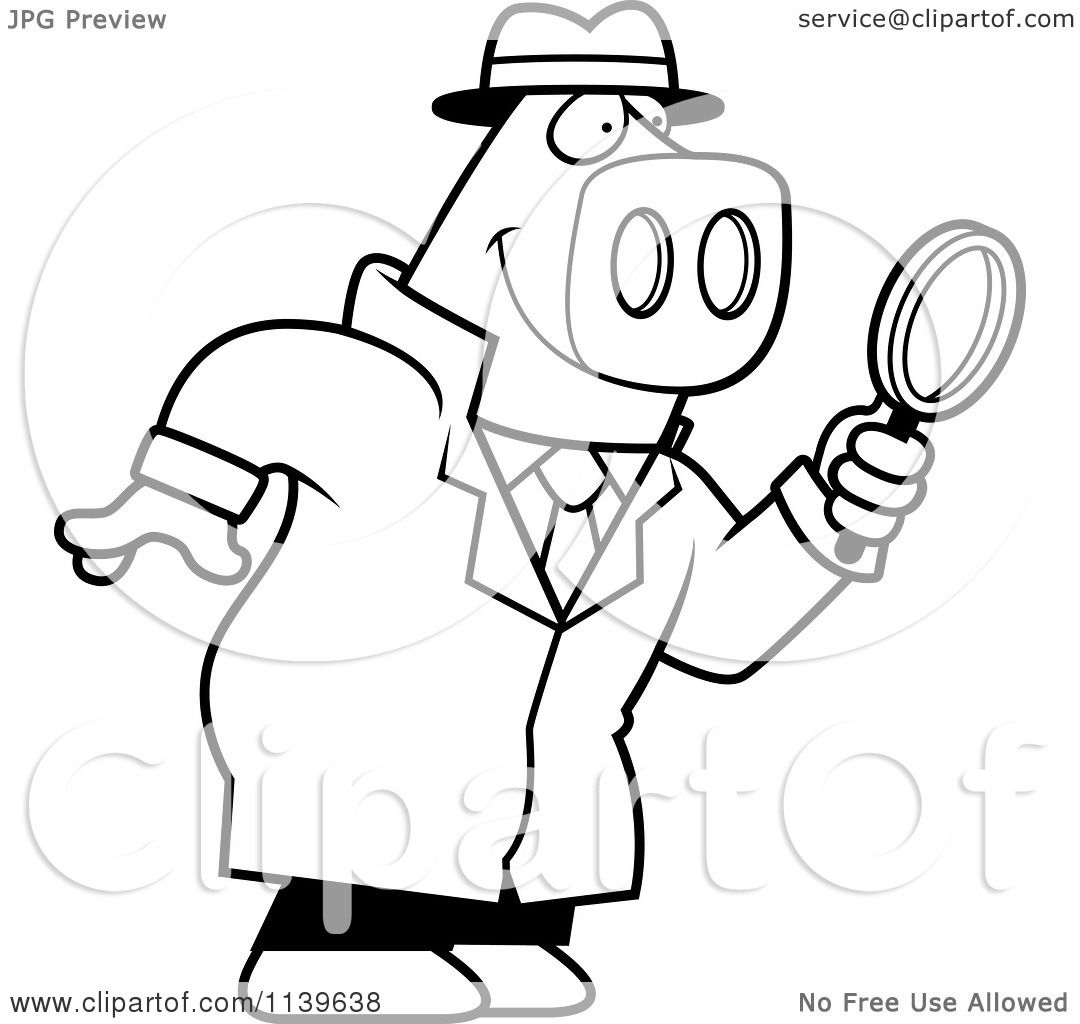 Cartoon Clipart Of A Black And White Pig Detective Using Magnifying Glass