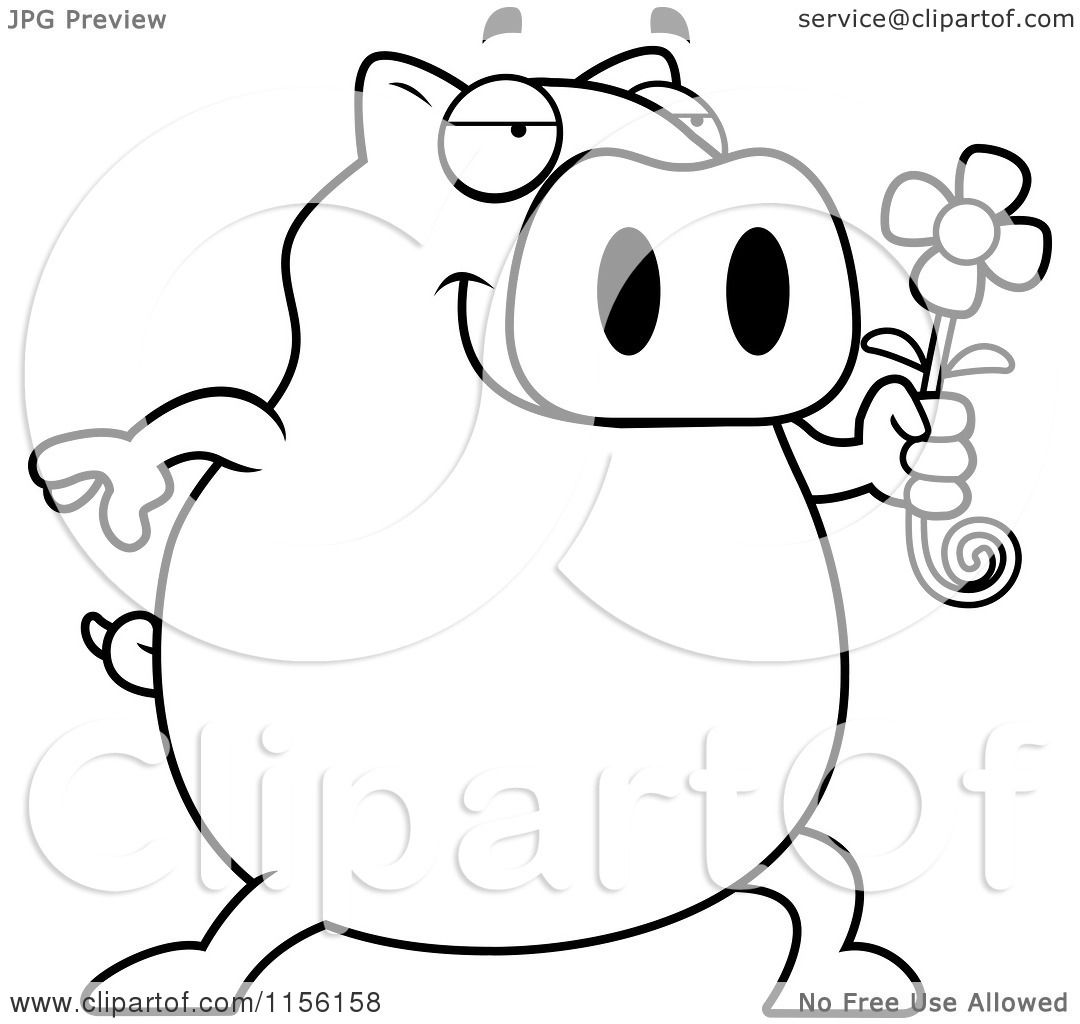 cartoon clipart of a black and white pig holding a daisy flower