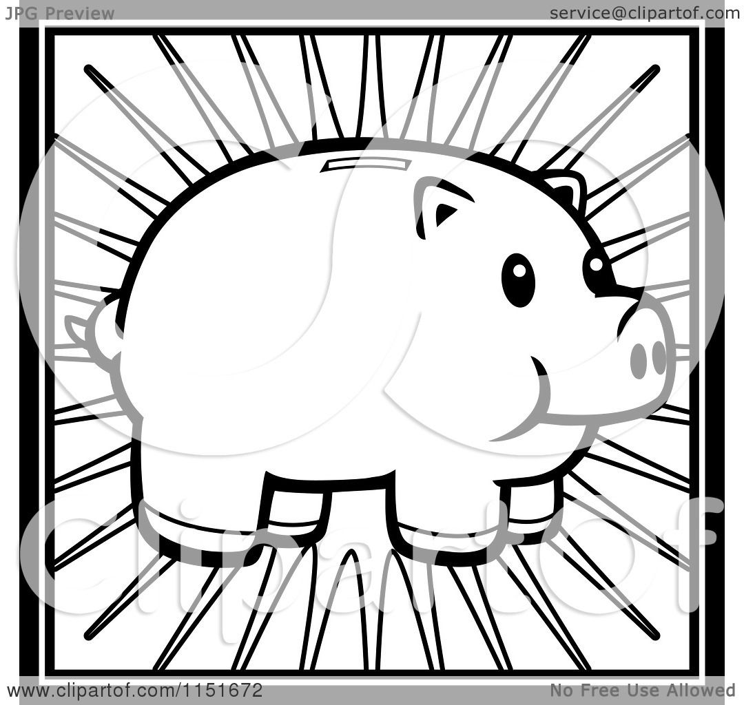 cartoon clipart of a black and white piggy bank over rays