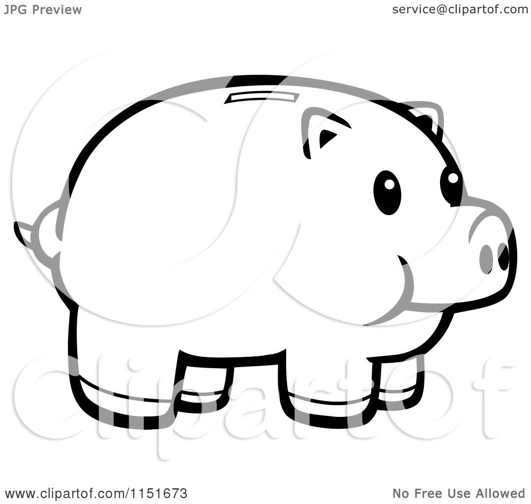cartoon clipart of a black and white piggy bank