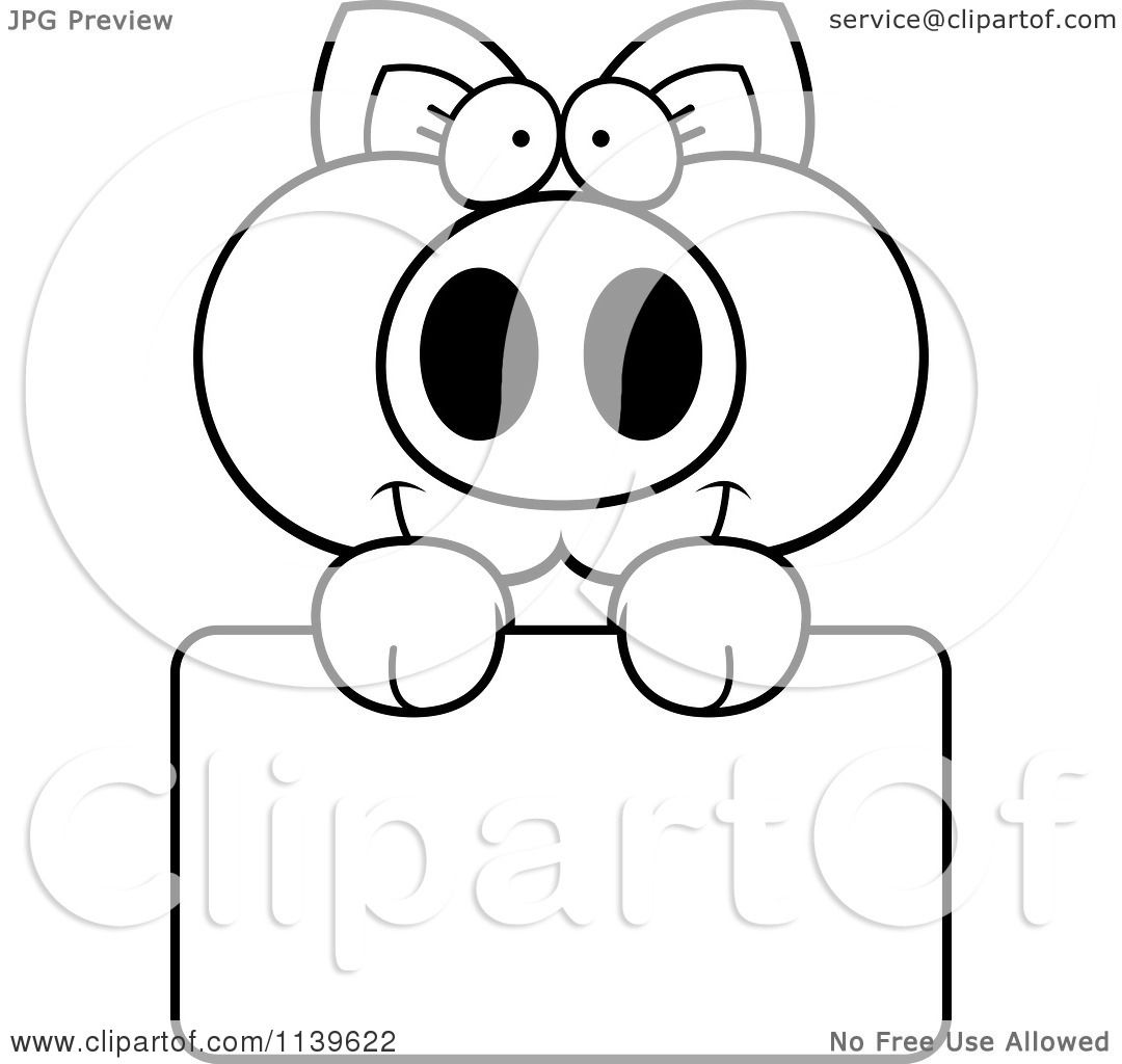 cartoon clipart of a black and white piglet holding a sign