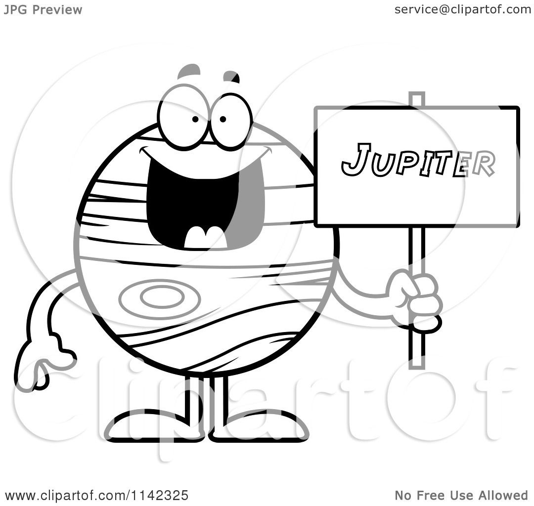 Cartoon Clipart Of A Black And White Planet Jupiter