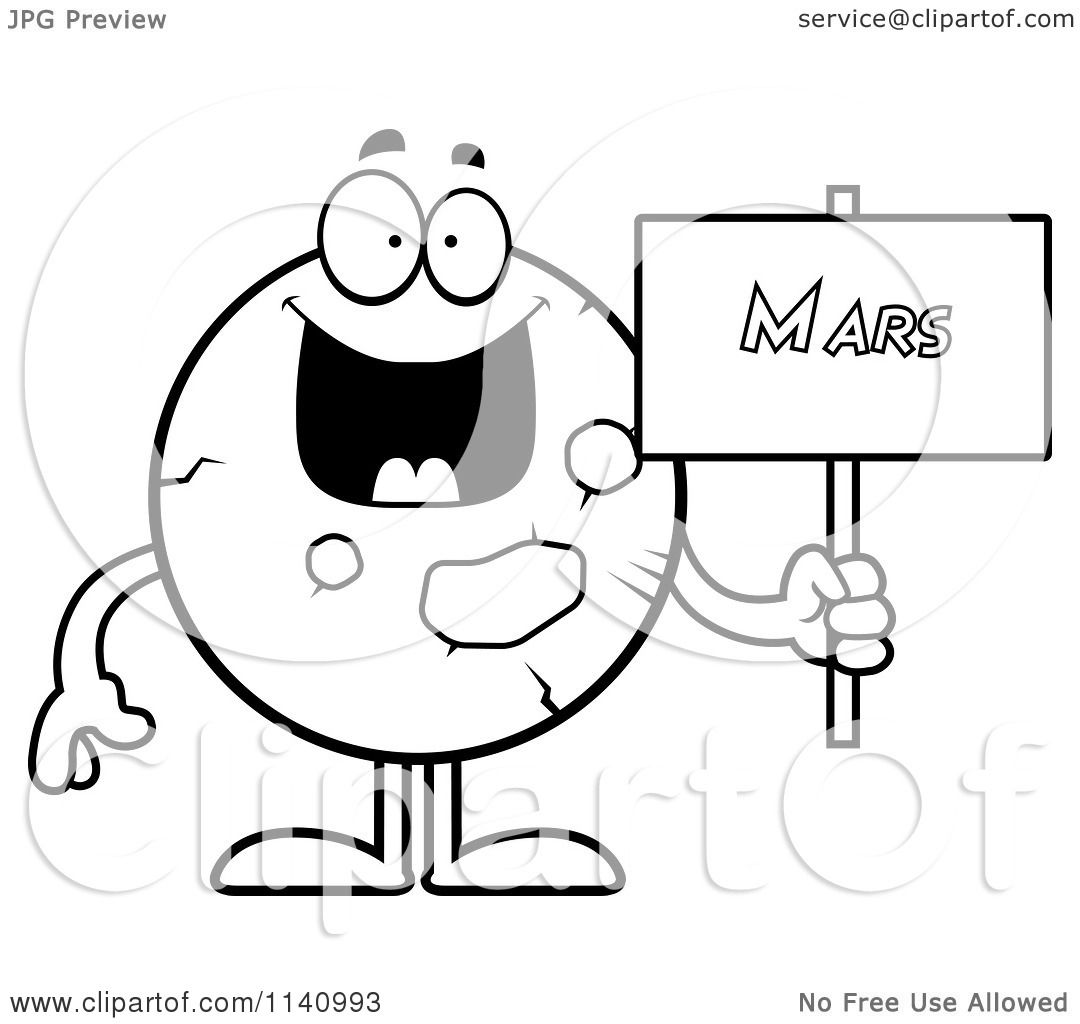 9 planets coloring pages - Cartoon Clipart Of A Black And White Planet Mars Holding A Sign Vector Outlined Coloring Page By Cory Thoman