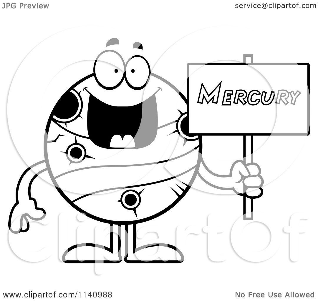 Cartoon Clipart Of A Black And White Planet Mercury Holding A Sign Mercury Coloring Pages