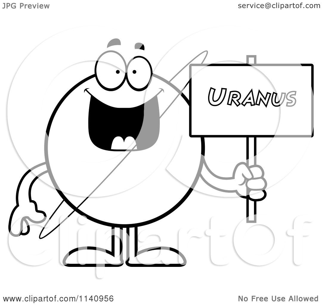 Cartoon Clipart Of A Black And White Planet Uranus Holding A Sign ...