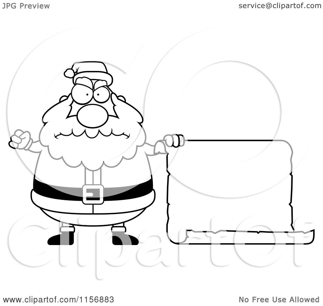 Cartoon Clipart Of A Black And White Plump Angry Santa with a Blank ...