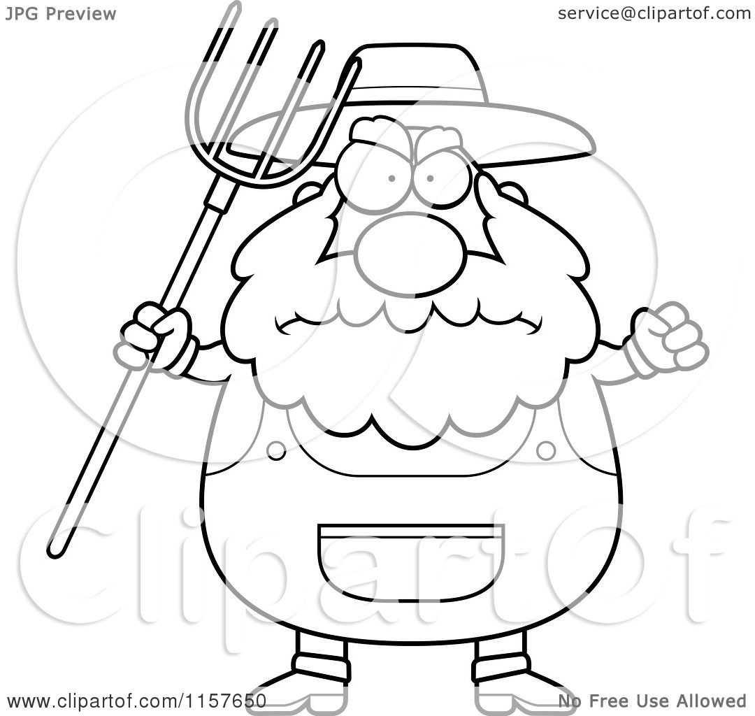 Cartoon Clipart Of A Black And White Plump Farmer Waving A Pitchfork In Anger - Vector -9746