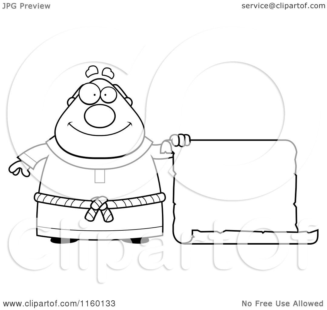 cartoon clipart of a black and white plump monk holding out a blank scroll sign vector outlined coloring page by cory thoman