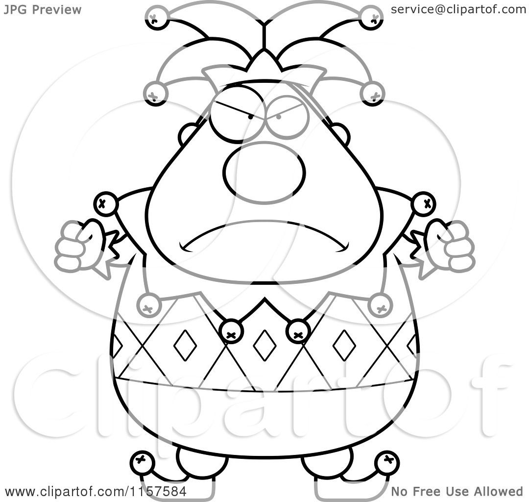 cartoon clipart of a black and white pudgy mad jester vector outlined coloring page by cory thoman