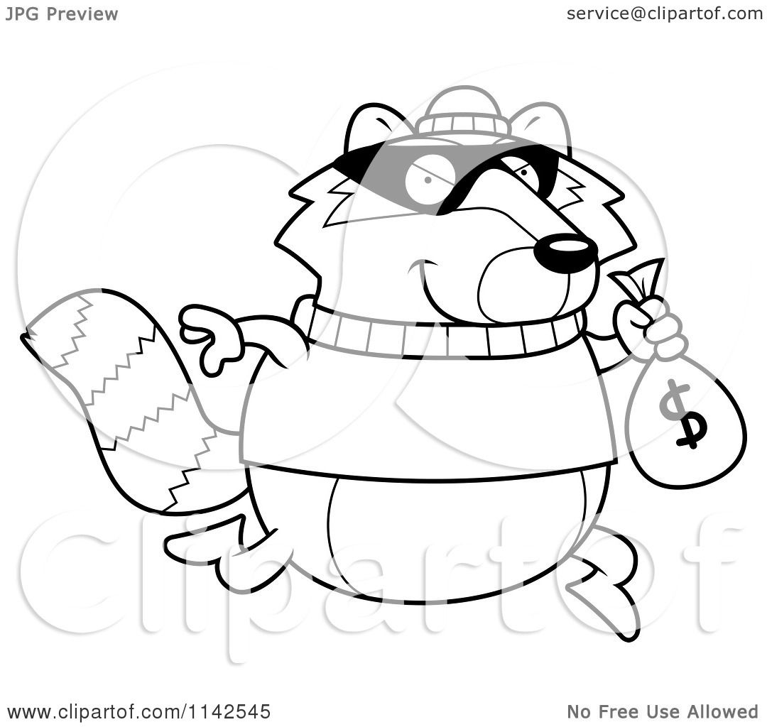 cartoon clipart of a black and white raccoon robbing a bank