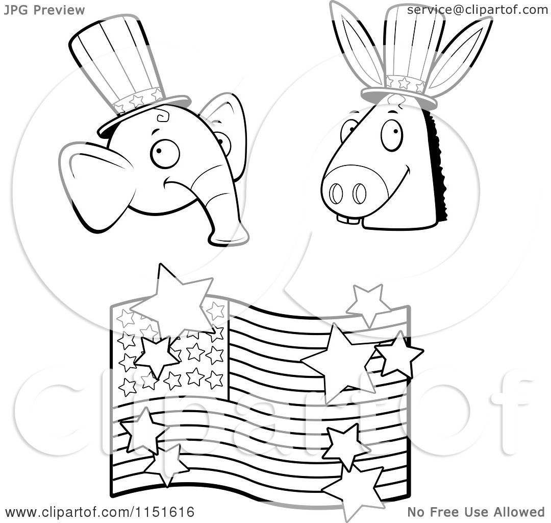 Cartoon Clipart Of A Black And White Republican Elephant Democratic Donkey American Flag