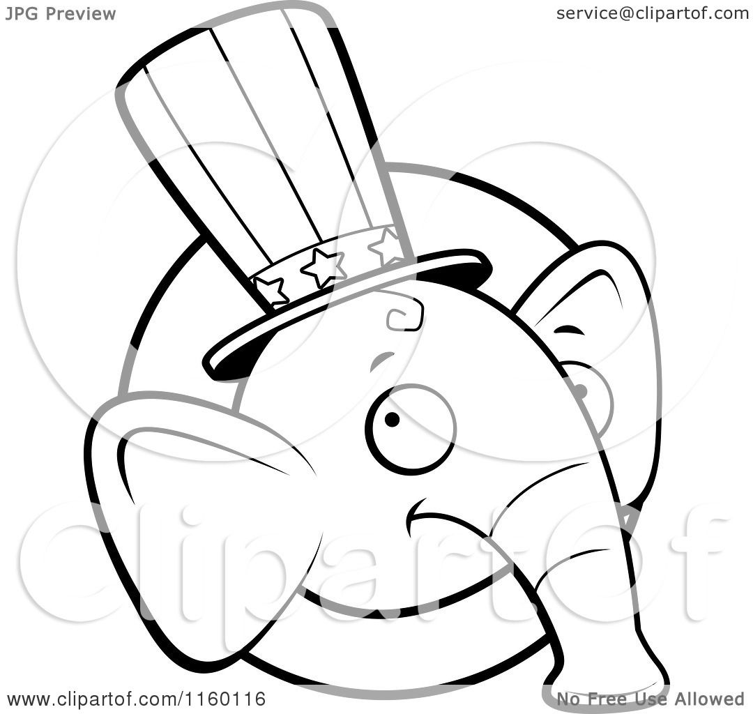 Cartoon Clipart Of A Black And White Republican Elephant Face Over Circle