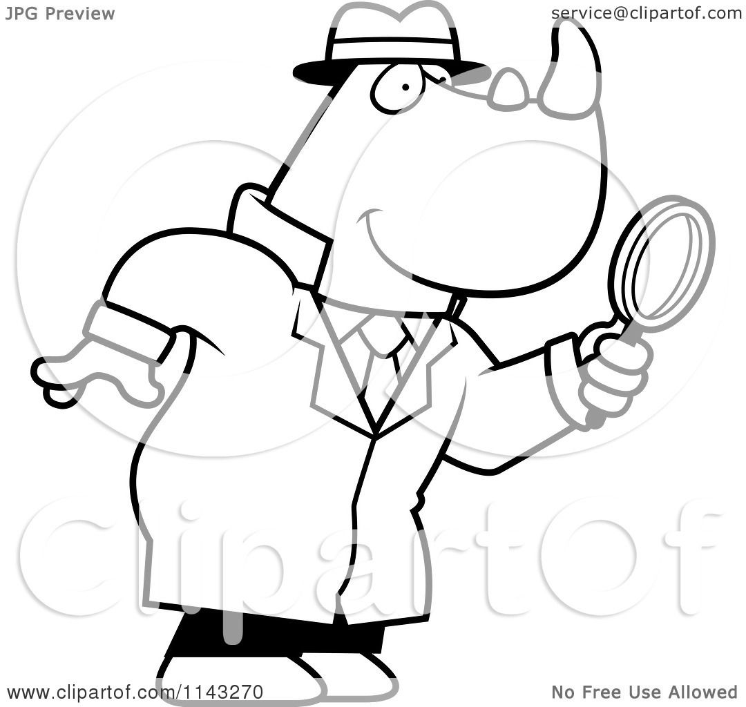 cartoon clipart of a black and white rhino detective using a