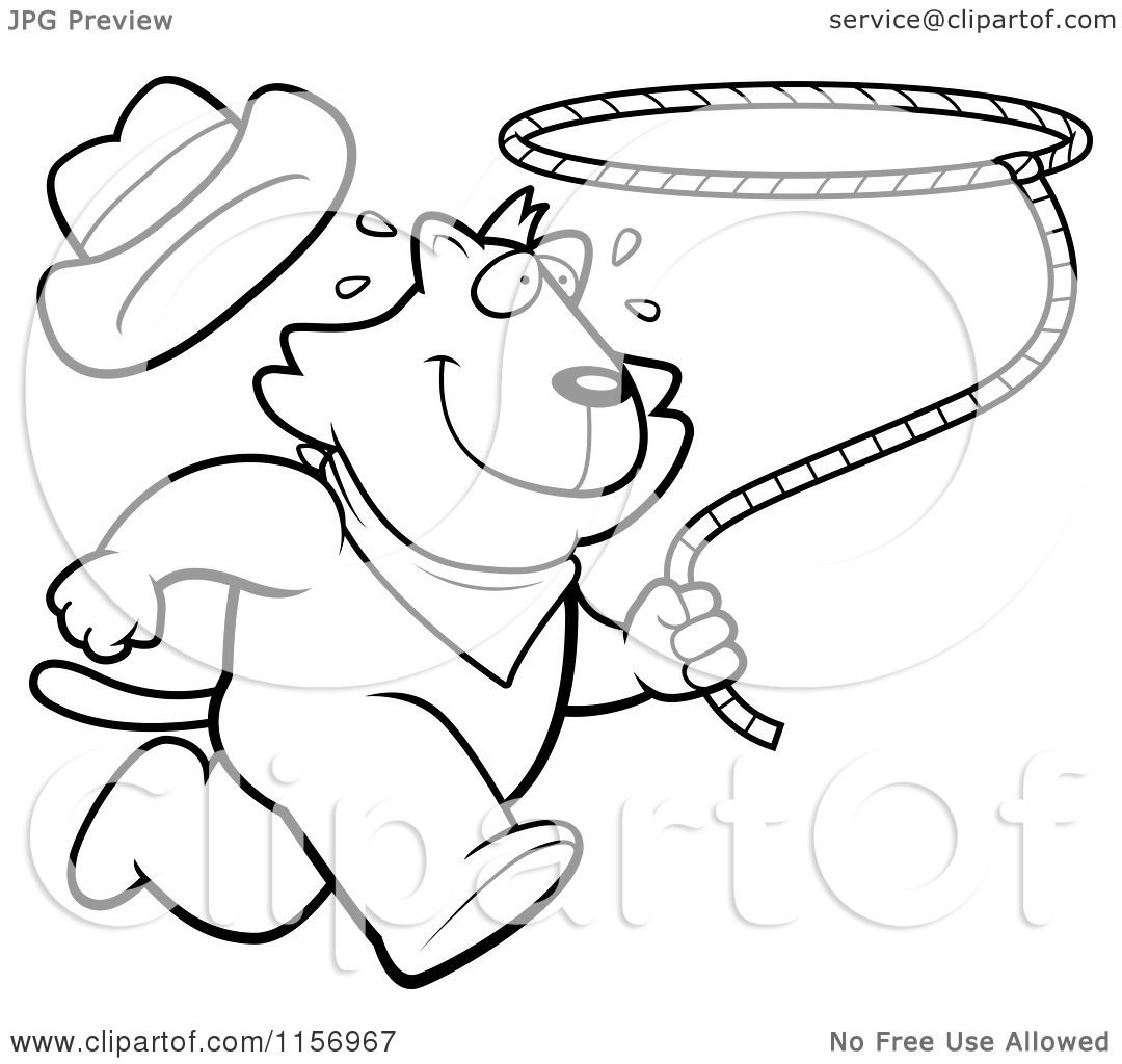 cartoon clipart of a black and white rodeo cat running with a