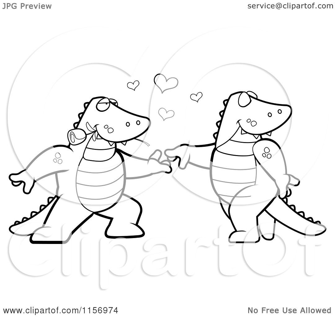 cartoon clipart of a black and white romantic alligator pair