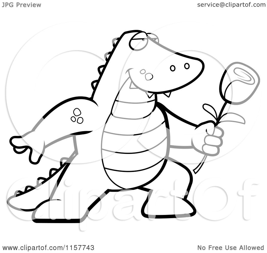 cartoon clipart of a black and white romantic alligator presenting