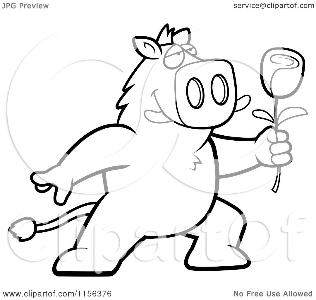 cartoon clipart of a black and white romantic boar presenting a