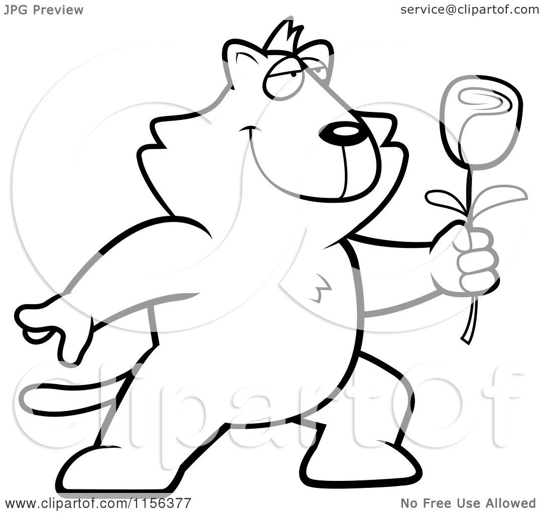 cartoon clipart of a black and white romantic cat presenting a