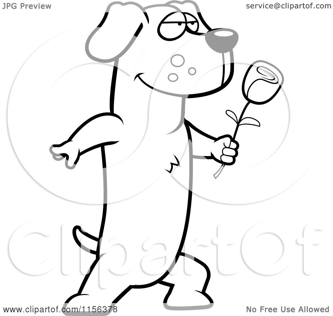 Cartoon Clipart Of A Black And White Romantic Dachshund Presenting a