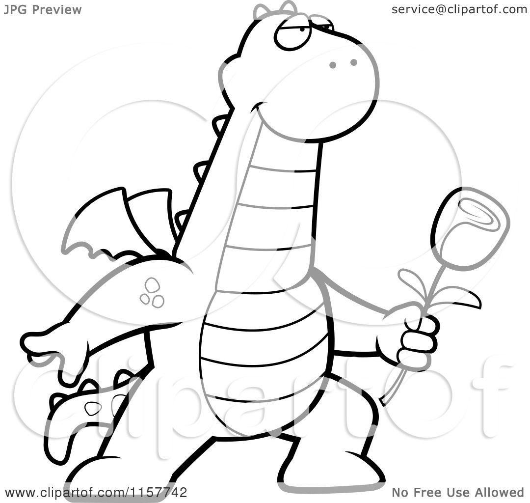 cartoon clipart of a black and white romantic dragon presenting a