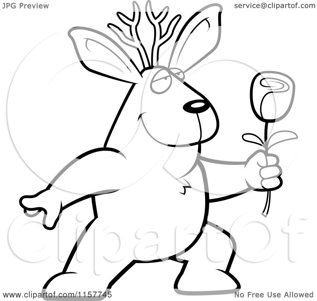 cartoon clipart of a black and white romantic jackalope presenting