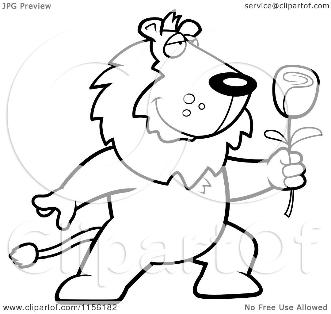 cartoon clipart of a black and white romantic lion presenting a