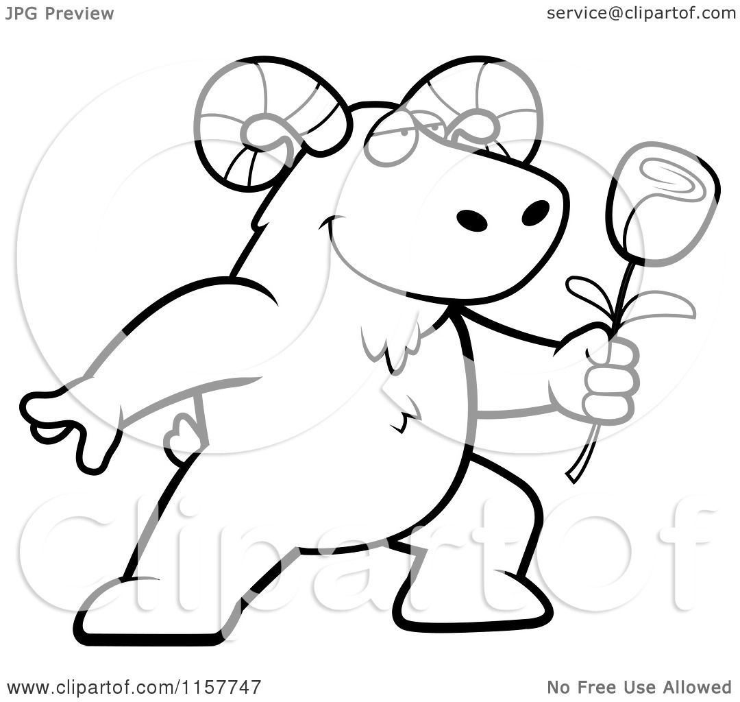 cartoon clipart of a black and white romantic ram presenting a