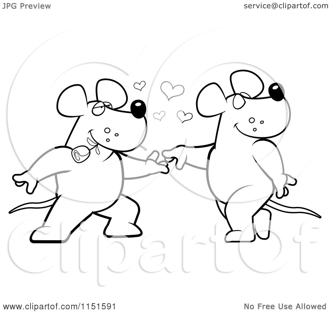cartoon clipart of a black and white romantic rat pair dancing