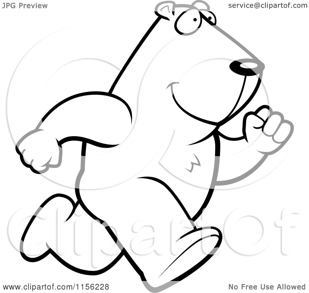 cartoon clipart of a black and white running groundhog vector outlined coloring page by cory thoman