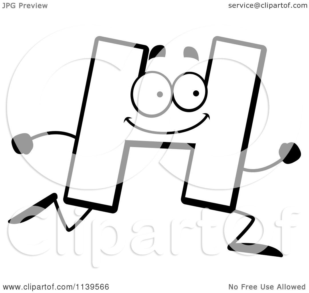 cartoon clipart of a black and white running letter h vector