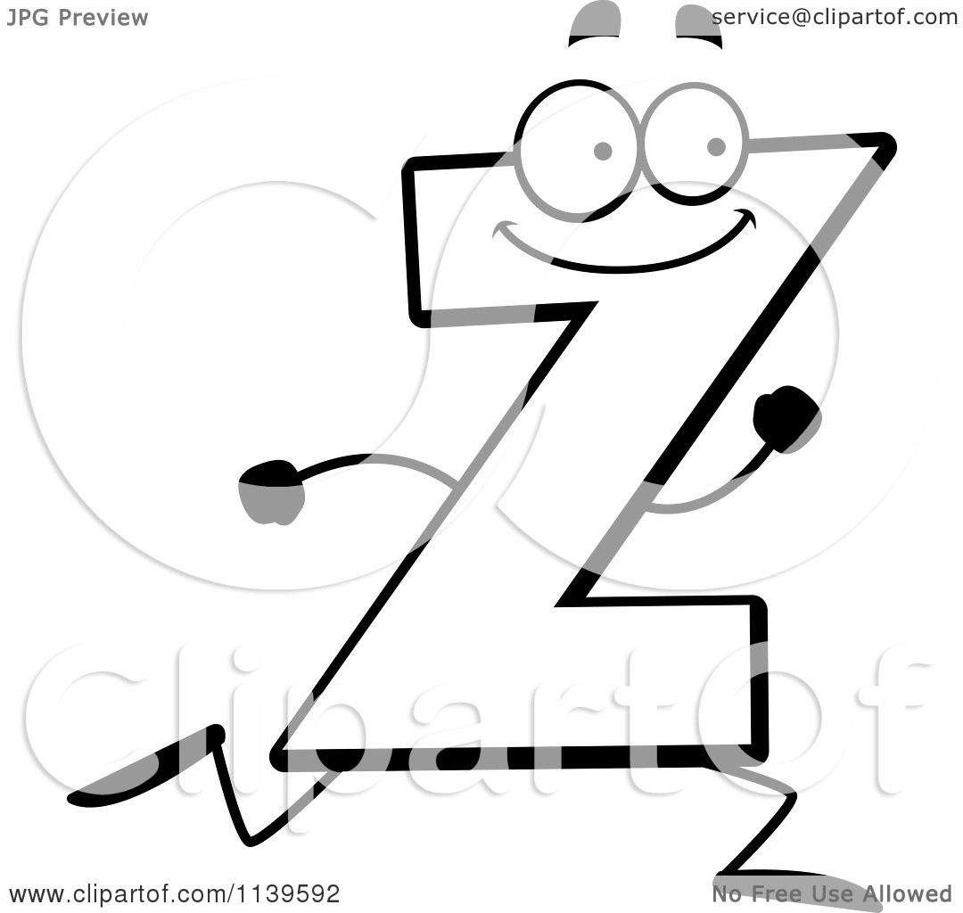 cartoon clipart of a black and white running letter z vector