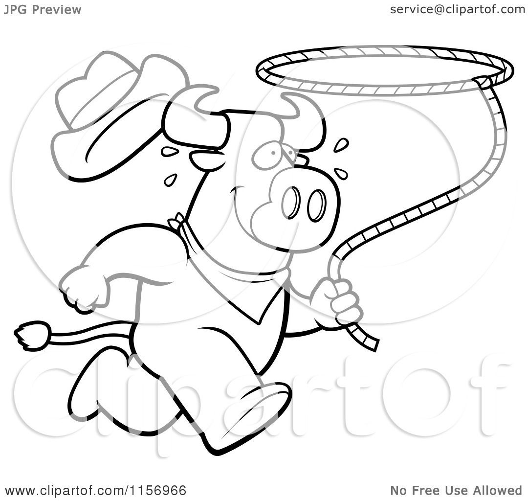 cartoon clipart of a black and white running rodeo bull with a