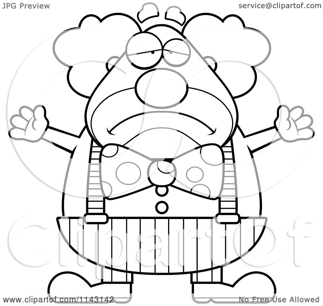 cartoon clipart of a black and white sad chubby circus clown