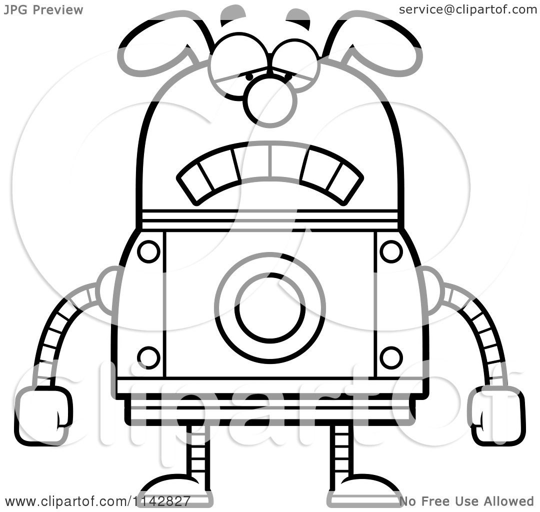 Cartoon Clipart Of A Black And White Sad Dog Robot