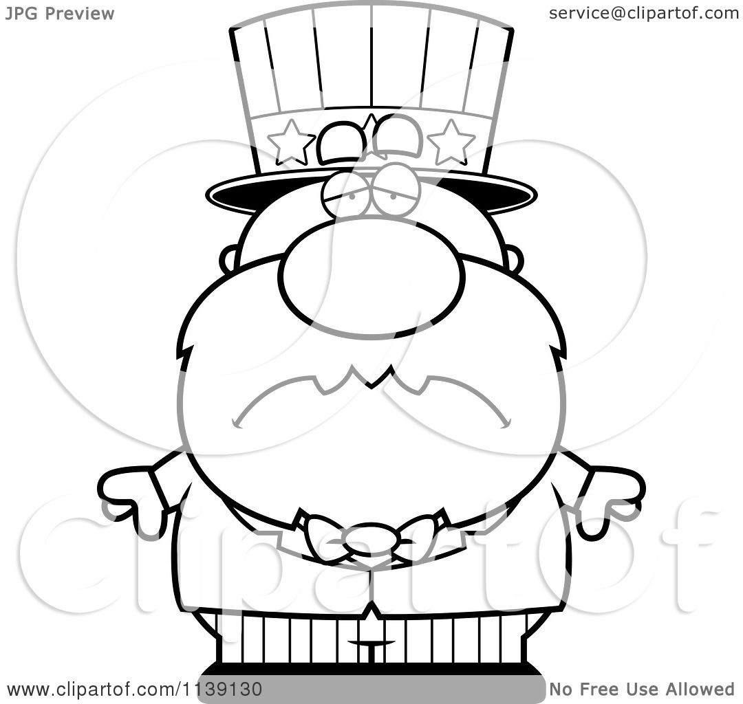Cartoon Clipart Of A Black And White Sad Uncle Sam ... | 1080 x 1024 jpeg 82kB