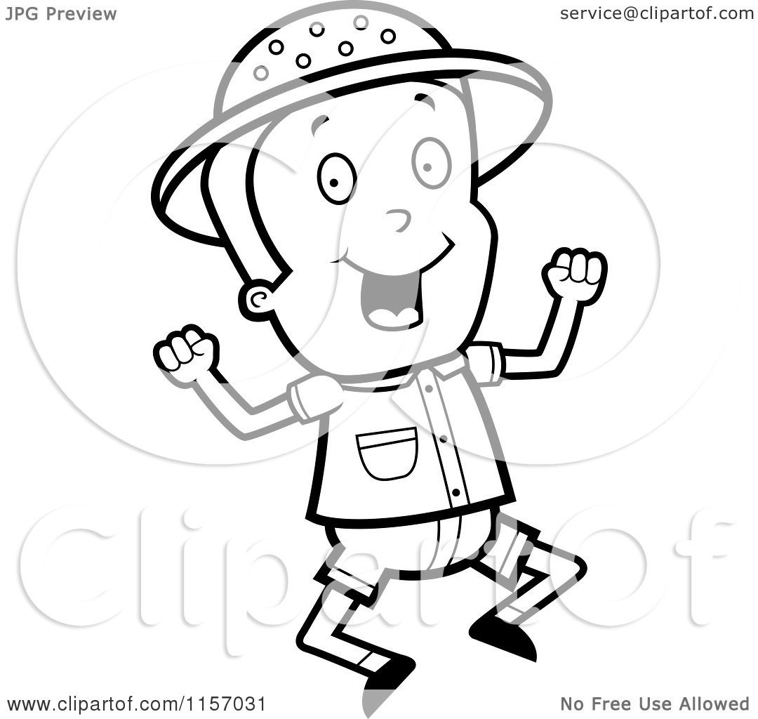 cartoon clipart of a black and white safari boy jumping vector