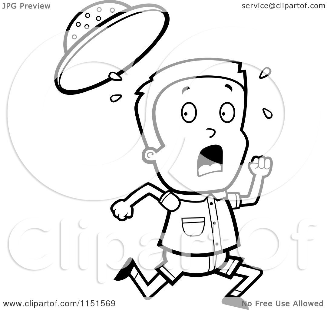cartoon clipart of a black and white safari boy running vector