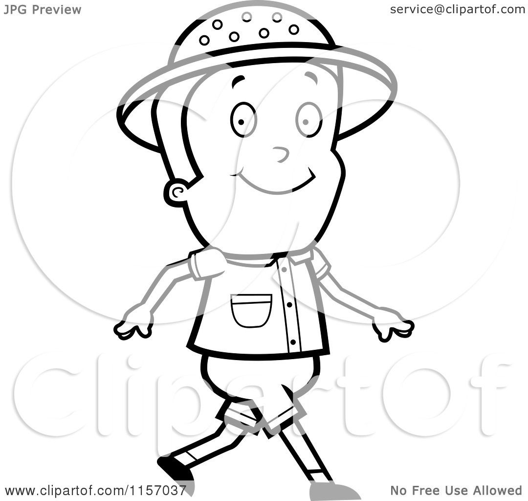 cartoon clipart of a black and white safari boy walking vector