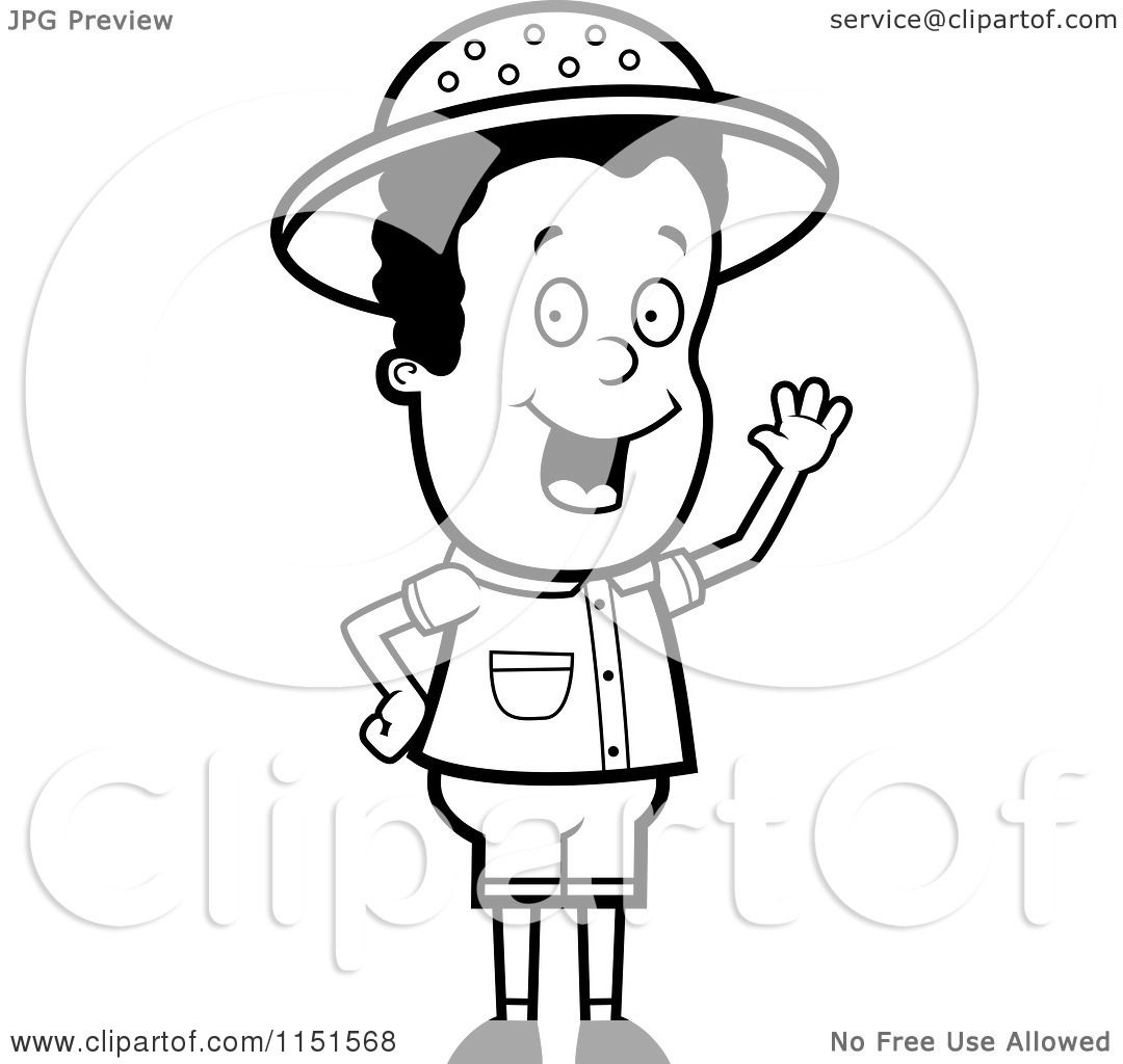 cartoon clipart of a black and white safari boy waving vector