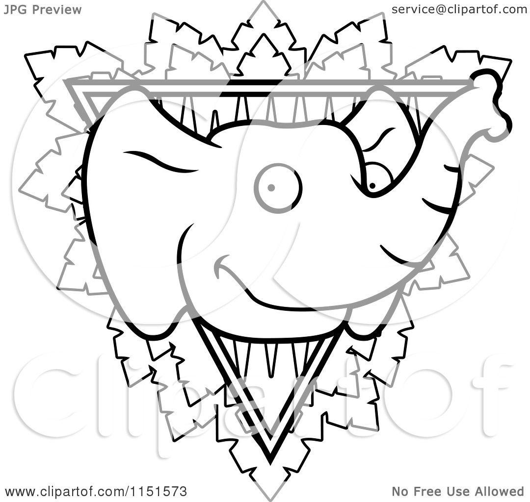 cartoon clipart of a black and white safari elephant triangle sign