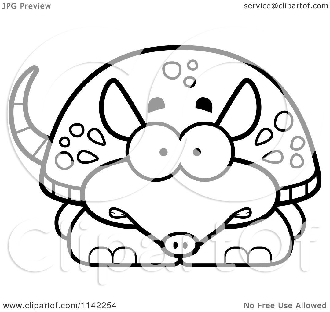 cartoon clipart of a black and white scared armadillo vector outlined coloring page by cory thoman - Armadillo Coloring Pages Print