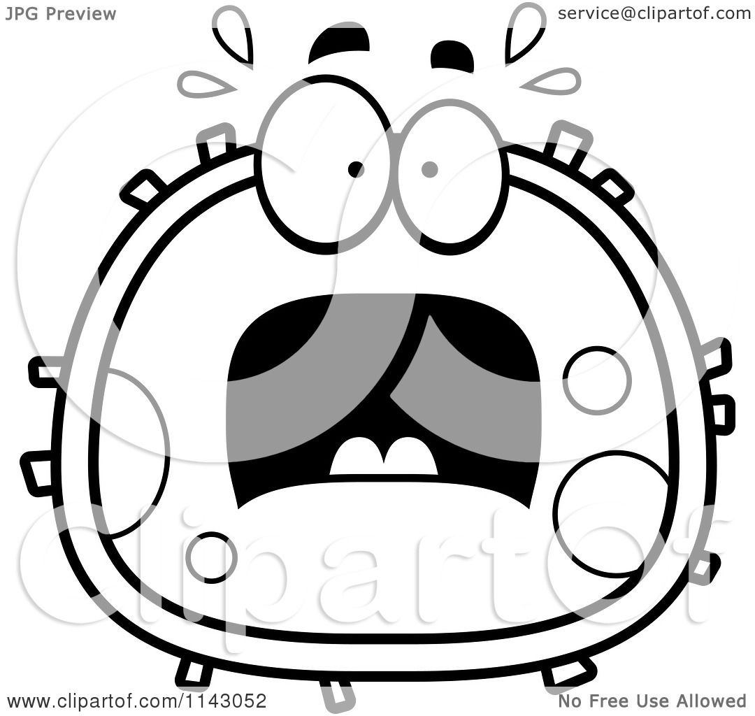 Coloring pages blood - Coloring Pages Blood Cartoon Clipart Of A Black And White Scared Blood Cell Vector Outlined