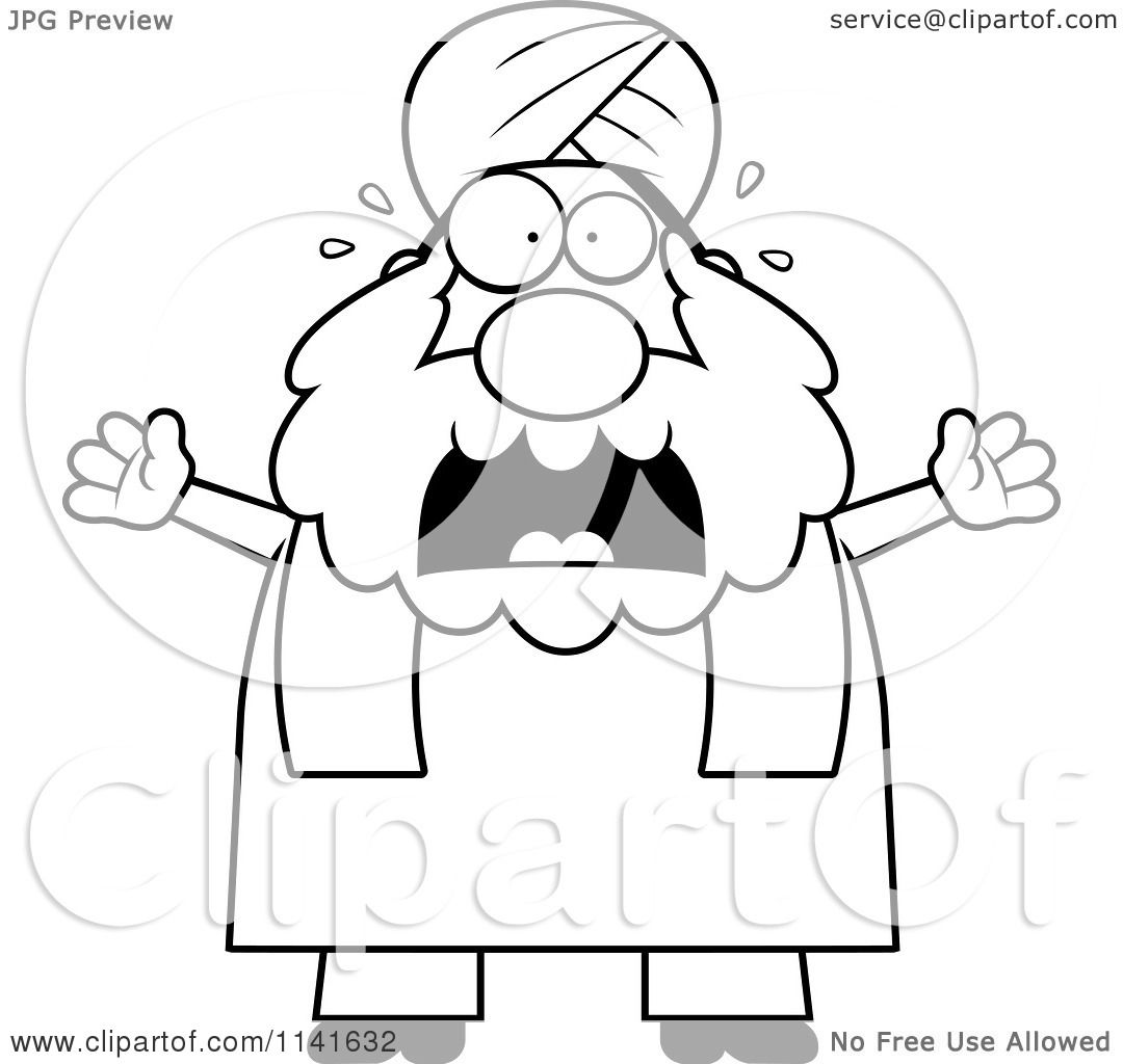 cartoon clipart of a black and white scared chubby muslim sikh man