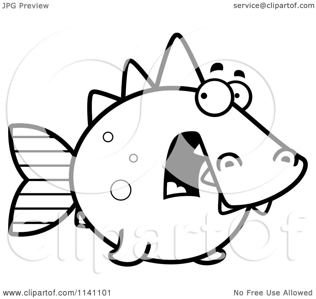 Cartoon Clipart Of A Black And White Scared Dino Fish ...