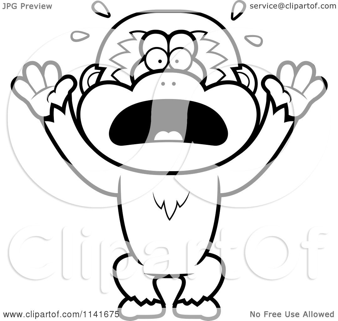 cartoon clipart of a black and white scared gibbon monkey vector