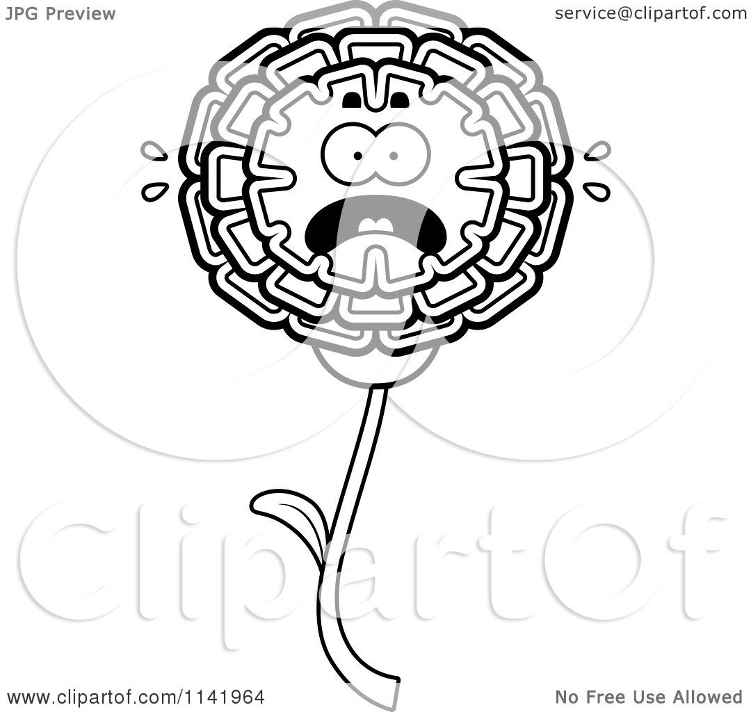 Cartoon Clipart Of A Black And White Scared Marigold Flower Character
